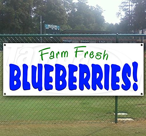 Fresh Blueberries 13 oz Heavy Duty Vinyl Banner Sign with Metal Grommets, New, Store, Advertising, Flag, (Many Sizes Available) by Tampa Printing
