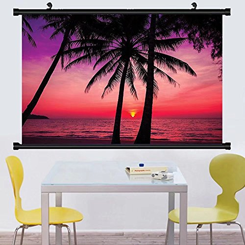 Gzhihine Wall Scroll Tropical Decor Collection Palm Trees Silhouette on Sunset Tropical Beach Coastline Exotic Vacations mage Wall Hanging Magenta Purple - Beach The Map Broadway On