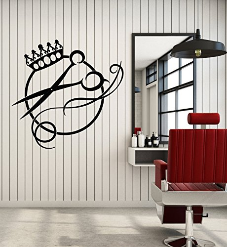 Vinyl Wall Decal Crown Scissors Logo Haircut Hair Salon Barbershop Stickers Large Decor (2459ig) - 46 Wall Art Logo Inch