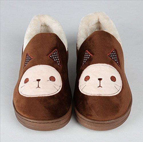 Y-Hui Super Soft Zapatillas casa piso caliente amantes zapatos zapatillas de algodón,44,Café