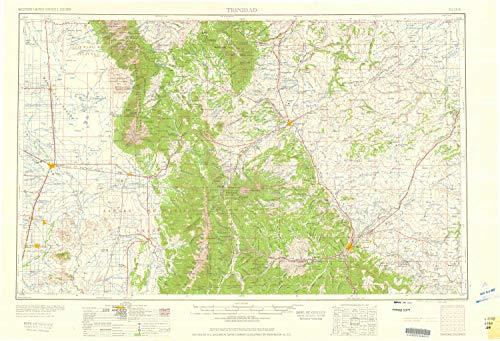 YellowMaps Trinidad CO topo map, 1:250000 Scale, 1 X 2 Degree, Historical, 1959, 21.8 x 31.9 in - Tyvek