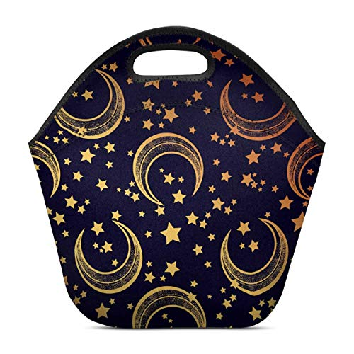 InterestPrint Insulated Neoprene Lunch Bag Moon Stars Reusable Tote -