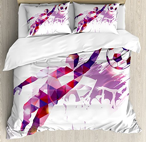 Boy's Room Queen Size Duvet Cover Set by Lunarable, Abstract Silhouette Fractal Mosaic Soccer Player Goalkeeper Catching Ball, Decorative 3 Piece Bedding Set with 2 Pillow Shams, Violet Pink Red by Lunarable
