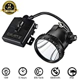 Powerful Miner Headlamp with 4 White Light Modes for Mining Safety/Equipped Rechargeable Battery/Free Red&Green Len Filters for Coyote/Predator/Coon Hunting/IP 68 Waterproof