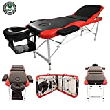 "Portable Massage Table Spa Beauty Tattoo Facial Bed Set Kit with Carrying Case for SPA Bodybuilding Salon Black Red | Foldable 3 Fold Sturdy 84"" Large Professional Ergonomic Soft Face Rest Comfortable"