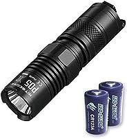 Bundle: Nitecore P05 460 Lumen w/Nitecore D2 Charger, NL166 + 2X Free Eco Sensa Premium CR123A Batteries