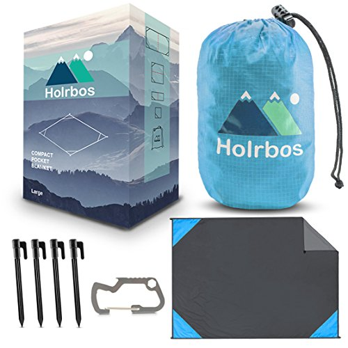 Pocket Blanket - Waterproof Compact Outdoor Sand Proof Mat Ideal for Picnic, Beach, Travel, Festival, Camping, Hiking - FREE Bottle Opener Carabiner with Stakes Kit, Large 83x56 Inch - Red Green Blue (Buy Online Covers Cheap Quilt)
