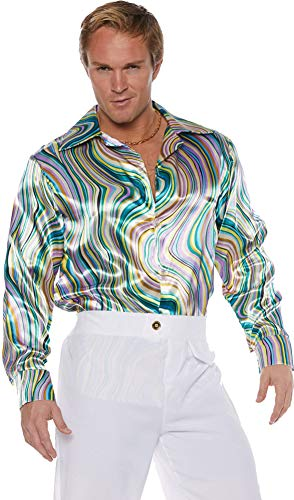 Underwraps Men's Retro Disco Costume Shirt-Green Swirls, Double -