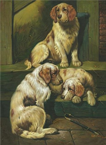 (Oil Painting 'Three Dogs' Printing On Polyster Canvas , 18x25 Inch / 46x63 Cm ,the Best Study Artwork And Home Gallery Art And Gifts Is This Vivid Art Decorative Prints On Canvas)