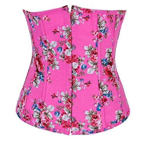 LFFW Floral Denim Korsett Unterbrust Taille Cincher Korsett Corsage Rosa