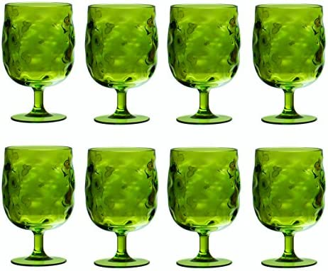QG Colorful Stackable 12 oz Acrylic Plastic Drinking Glass Goblet Set of 8 Blue