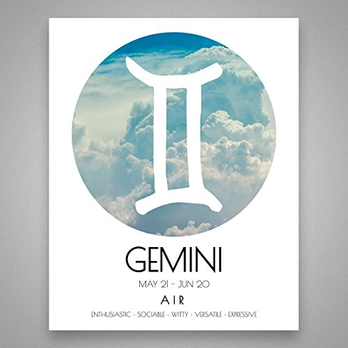 (Gemini Air Wall Art - Air Star Sign Print - Zodiac Gift - Gemini Gift - Gemini Print - Star Sign Wall Art - Minimalist Decor - Minimalist Wall Art - 8 inches x 10 inches )