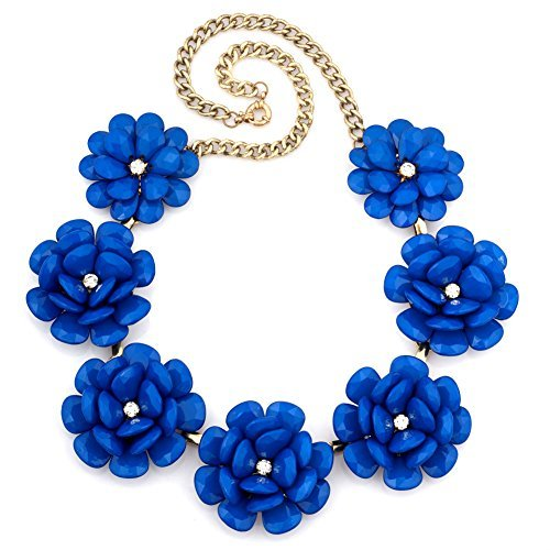 LuckyJewelry Vintage Women Flower Choker Chunky Blue Statement Bib Pendant Necklace Golden Chain