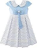 Sunny Fashion JT31 Girls Dress Polka Dot School Bow Tie Pearl Cap Sleeve Size 4