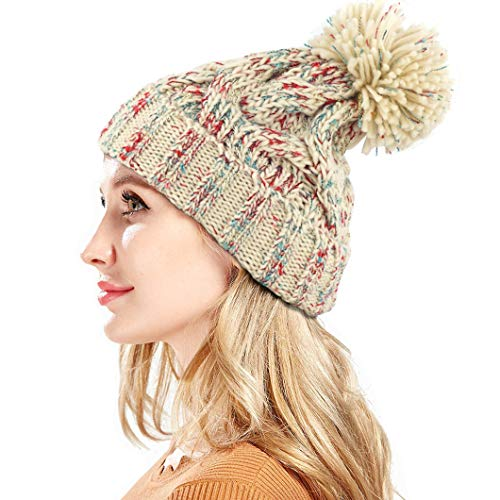 dad2eb4342c4a FADA Women Knit Slouchy Beanie Chunky Baggy Hat Oversized Pompom Winter  Soft Warm Ski Cap
