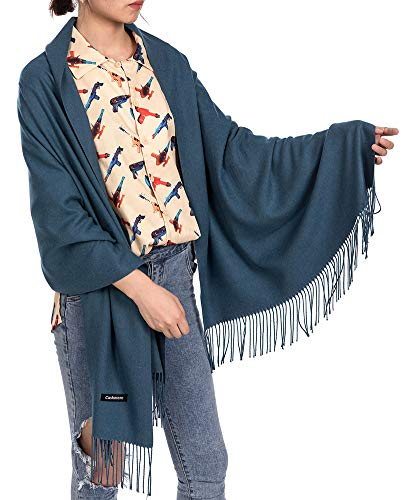 - Womens Soft Scarf Blanket Large Pashmina Cashmere Shawls Wrap Stole with Tassel (Cyan)