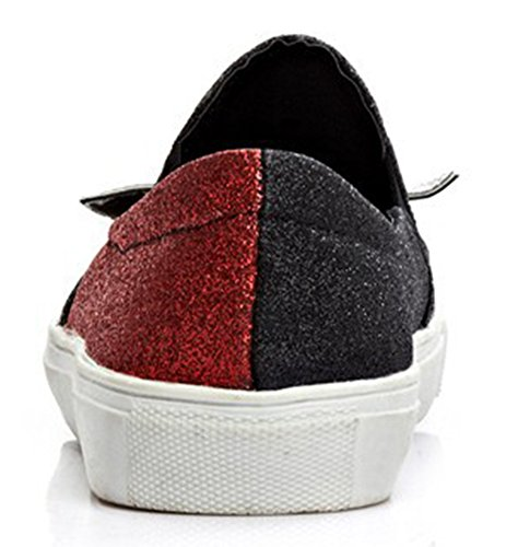 Sfnld Womens Cute Round Toe Cartoon Sequins Platform Slip On Loafers Shoes Red FeFsxo