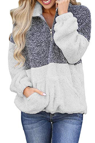 (OLIVE TREEWomen Long Sleeve Sherpa PulloverZippered Soft Tops Coat Fleece with Pocket)
