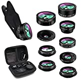 Phone Camera Lens,TODI 9 in 1 Wide Angle Lens,Macro Lens,Fisheye Lens,Telephoto Lens,CPL Lens, Kaleidoscope and Starburst Lens Compatible iPhone,Samsung, Most Andriod Phones