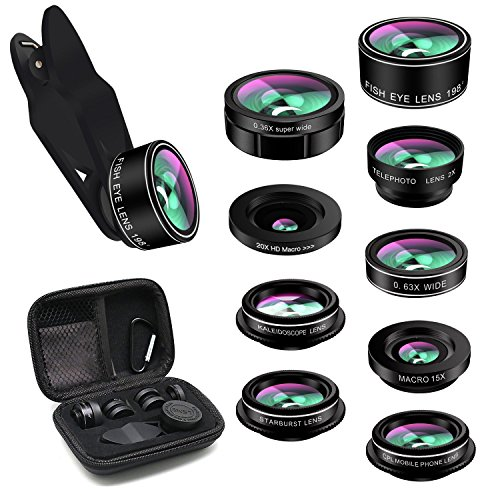 (Phone Lens,TODI iPhone Lens 9 in 1 Wide Angle Lens,Macro Lens,Fisheye Lens,Telephoto Lens,CPL Lens, Kaleidoscope and Starburst Lens Compatible iPhone,Most Andriod Phones)