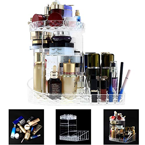 DeELF Clear Makeup Organizer Adjustable 360 Rotating Cosmetic Organizer Plastic Countertop Vanity Organizers for Cosmetics, Perfumes, Lipsticks, Makeup Brush