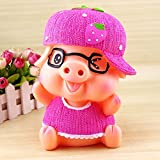 Kawaii Cute Wear glasses Pink Fruit Pig Piggy Bank Resin Personalized Baby Nursery Decor Home Furnishing decoration M Size