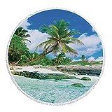 iPrint Thick Round Beach Towel Blanket,Seaside Decor,Scene Rocks Palms Shades Jungle Honeymoon Islands Remote Resort Leisure,Multi-Purpose Beach Throw