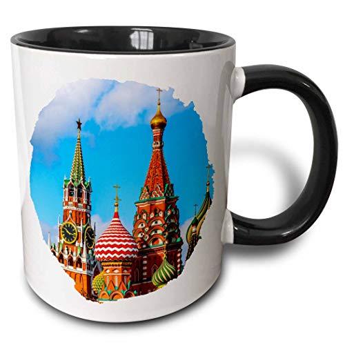 (3dRose Alexis Photography - Moscow Kremlin - Moscow Kremlin Spassky tower and St. Basils Cathedral. Round frame - 11oz Two-Tone Black Mug (mug_287110_4) )