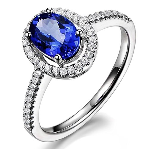 Unique Vintage Genuine Tanzanite for Women 14K White Gold Natural Diamond Engagement Wedding Ring