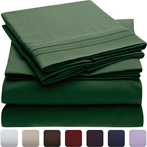 Mellanni Bed Sheet Set Brushed Microfiber 1800 Bedding - Wrinkle, Fade, Stain Resistant - Hypoallergenic - 4 Piece (Full, Emerald Green)