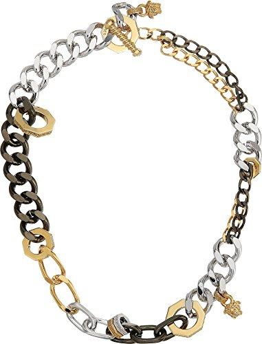 Versace Unisex Mixed Metal Link Necklace Gold/Black Ruthenium/Palladium One - Versace Charm
