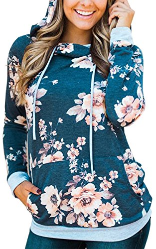 Angashion Women Hoodies-Tops- Floral Printed Long Sleeve Pocket Drawstring Sweatshirt With Pocket,Blue,US 6/Tag M