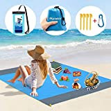 Meinice [82''×79''] Sand Free Beach Mat, Beach Blanket Sand Proof with Waterproof Phone Case,Camping Mat Waterproof Beach Accessories & Portable Family Picnic Mat