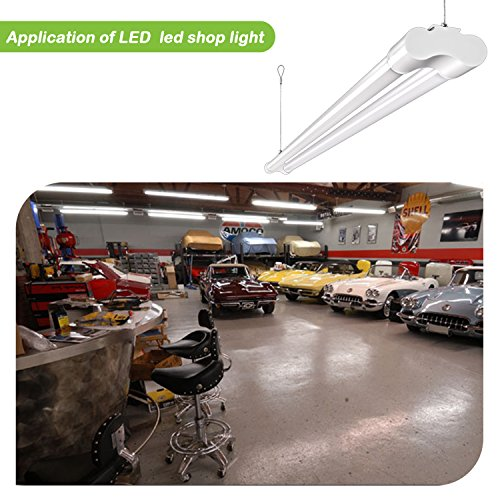 Hykolity 4FT 36W LED Shop Light with cord, 3600lm Hanging or FlushMount Garage Utility Light, 5000K Overhead Workbench Light, Light Weight, Shatter Proof 64w Fluorescent Fixture Replacement- 4 Pack by hykolity (Image #7)