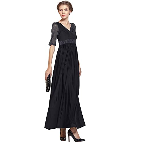 Medeshe Womens Half Sleeve Formal Plus Size Black Long Maxi Dress