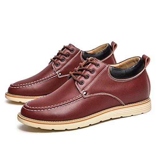ZXCV Zapatos al aire libre Hombres de negocios de vino casual de cuero rojo zapatos de moda antes de la banda con el aumento de los zapatos de los hombres Vino rojo