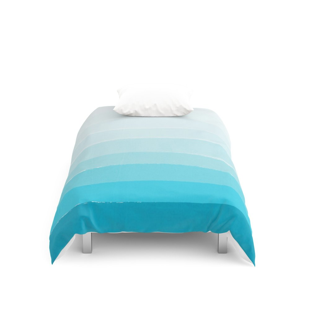 Society6 Isla - Ombre Brushstroke - Blue Turquoise, Bright, Summer, Tropical, Beach Ocean Duvet Covers Twin XL: 68'' x 92''