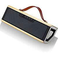 Bluetooth Speakers,GSPON Portable Smartphone and Laptop Speaker,Outdoor Speakers with Wired 3.5mm AUX Audio in (gold)