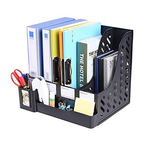 Multifunction Storage Four Sections File Rack Paper Magazine Holder Home Office Desk Book Sorter Storage Hanger Tidy Dispay Bin Desktop Shelf File Dividers Cabinet Document Tray Organizer Box (Black)
