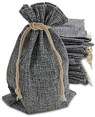 50 Gray Burlap Bags with Drawstring, 7×10 Inch Gift Bag Bulk Pack for Mugs, Mason Jars, Wedding Party Favors, Jewelry and Treat Pouches