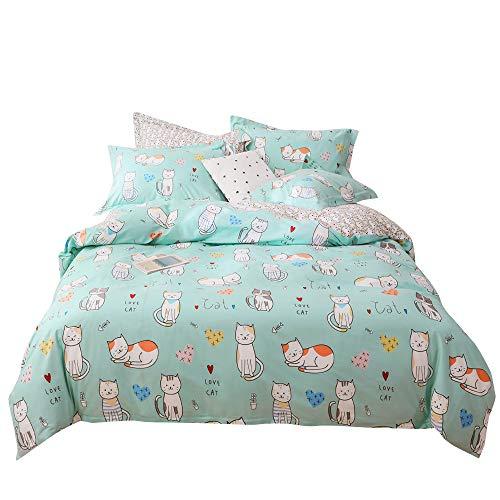 Smiling Cat Duvet Cover Set Mint Green Kids Bedding Set Lovely Cats Pattern Teen Girls Queen Bedding Floral Reversible Girl Room Bed Set