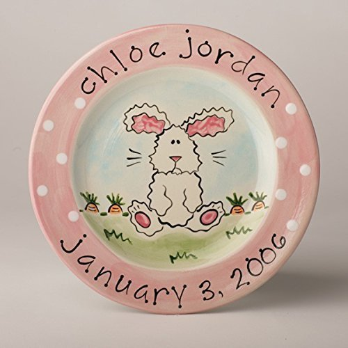 Personalized Birth Announcement Plate With Fuzzy Bunny