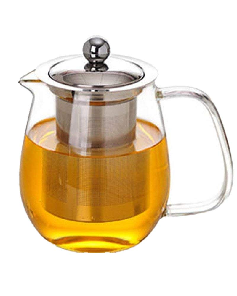 Emoyi Glass Teapot with Stainless Steel Infuser & Lid, Borosilicate Glass Tea Pots Stovetop Safe, 23 Ounce / 700 ml
