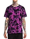 Tossun Youth & Adult Short Sleeve Colorful Tie-Dye Shirts Gradient Colors T Shirt Cool Design Summer Tee Shirts(Dark Purple,XL)