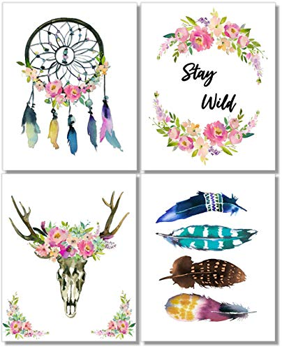 Boho Wall Decor -Bohemian Art Prints - (Set of 4) - 8x10 - Unframed]()