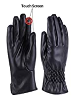 Women Winter Warm Leather Gloves Cashmere Lining Thick Windproof Outdoor Hand Mittens Touch Screen