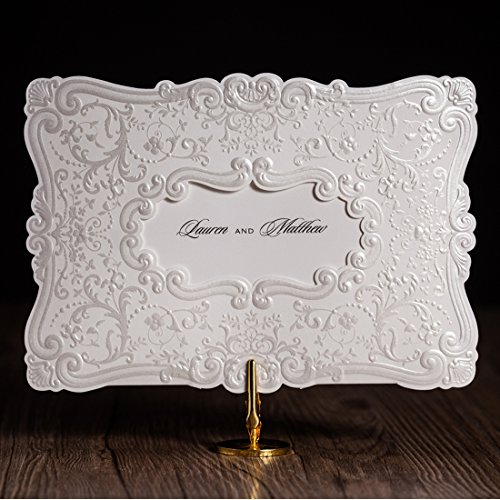 Wedding invitation kits do it yourself amazon wishmade 50x luxury white tri fold embossed wedding invitation in photo frame design paper cardstock for engagement bridal shower birthday party favorsset solutioingenieria Gallery