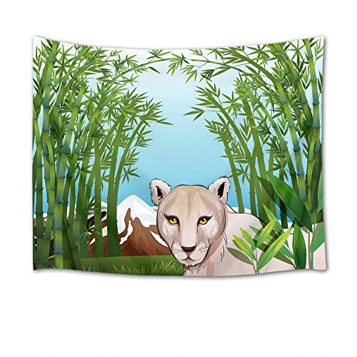 - JUNZYGH Tapestry, Animal Tapestry, Bamboo Forest Snow Scene Leopard,Decorative Tarpaulin Wall Hanging Wallcovering Beach Towel Tapestry, Suitable for Bedroom Living Room Kitchen,150X100Cm