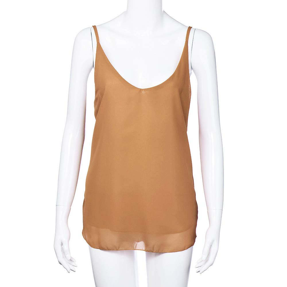 iLUGU Women V Neck Tank Top Chiffon Sleeveless Shirt Vest Cami T Shirt for Blouse Khaki by iLUGU (Image #3)