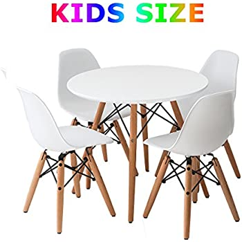 Amazoncom Buschman Set Of White Eames Style Kids Dining Room Mid - Dining room table for four